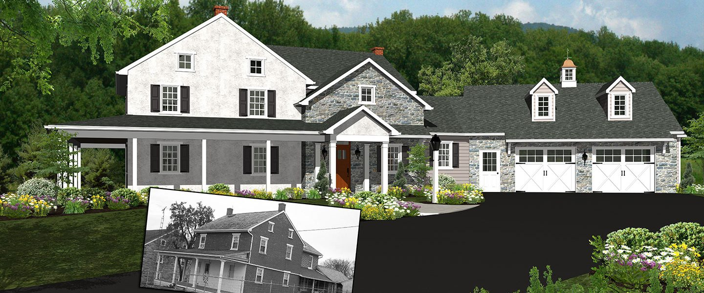 3d rendering of stone garage addition