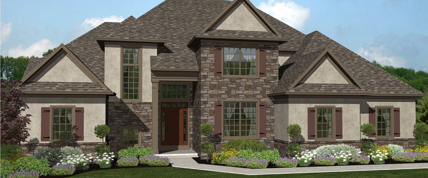 large contemporary stone accented house