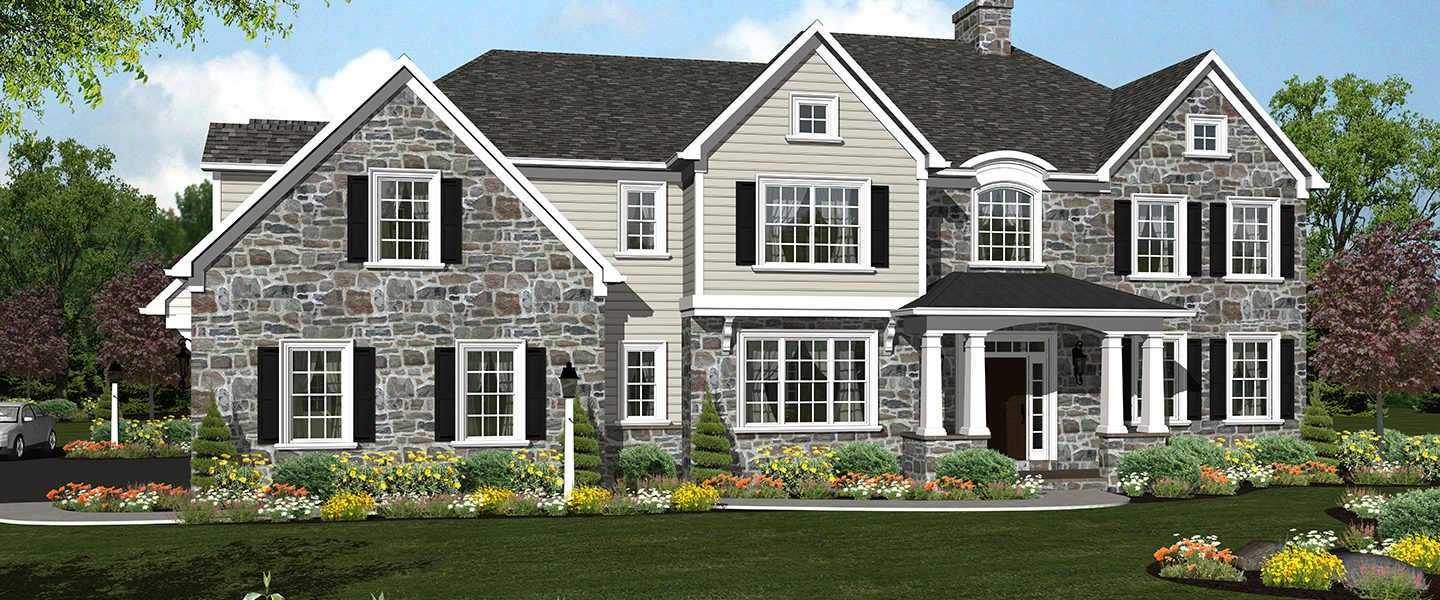 large two story house with stone additions