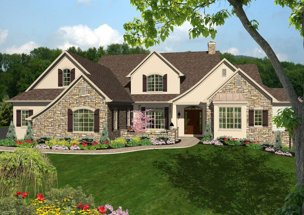 stucco and stone 3d rendered home