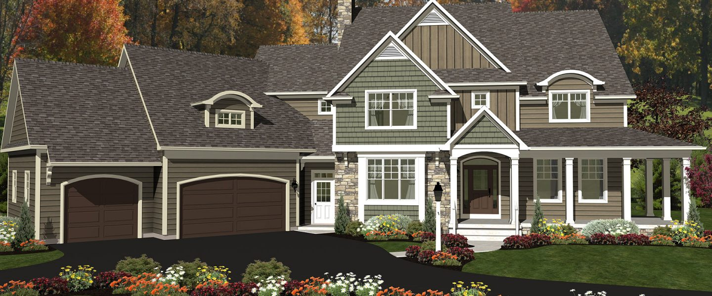 3d farmhouse style home with an attached garage