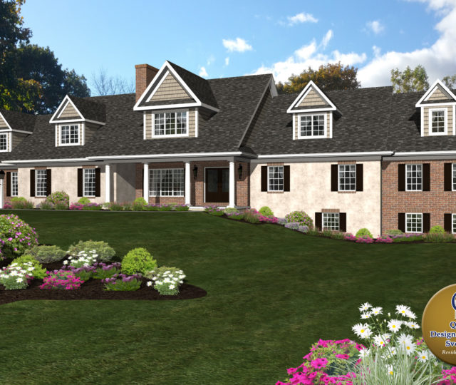 large cape cod estate rendered home