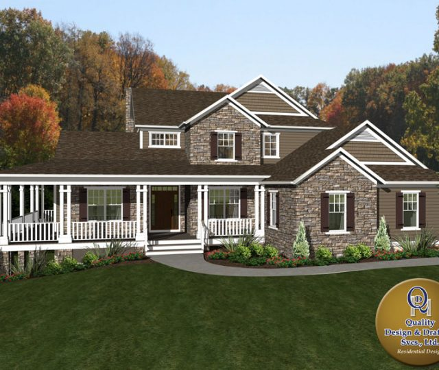 three story 3d rendered home plan