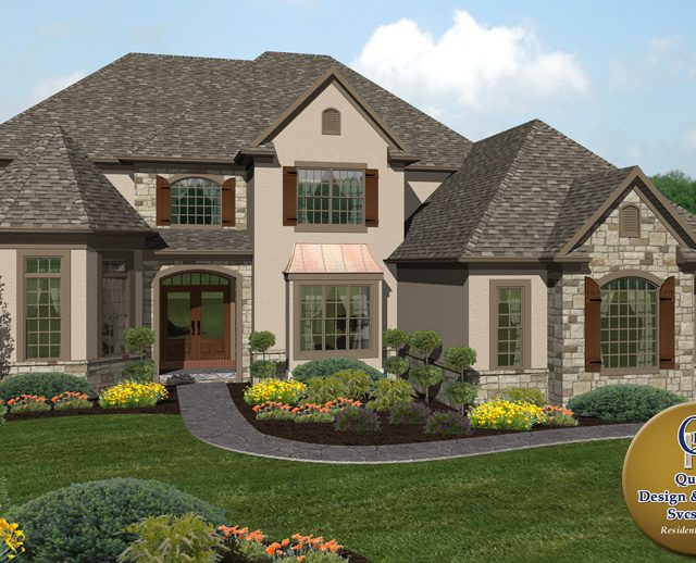 three story luxury home with stone and stucco siding