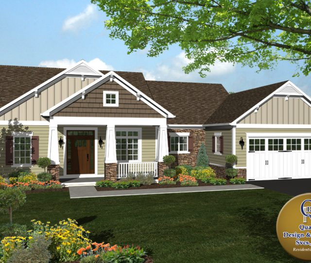 3d rendered home with attached garage and James Hardie siding
