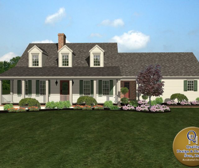 cape cod style custom home plan