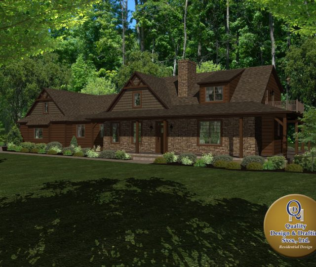 contemporary log home rendering