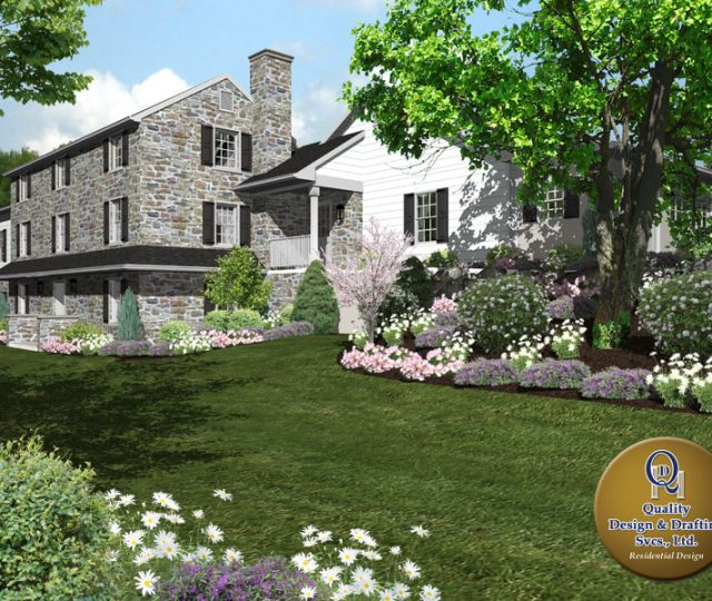 side of stone custom home