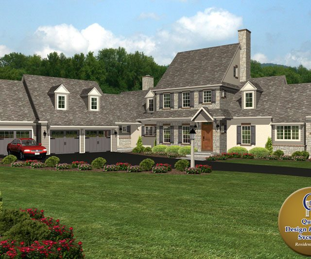large cottage home with attached home additions and slate roofing