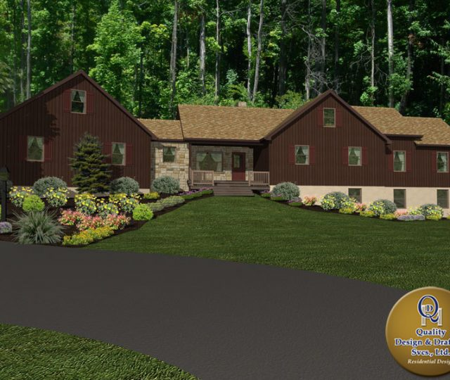 log cabin 3d rendering