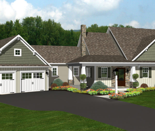 Custom 3D house plan with attached two car garage