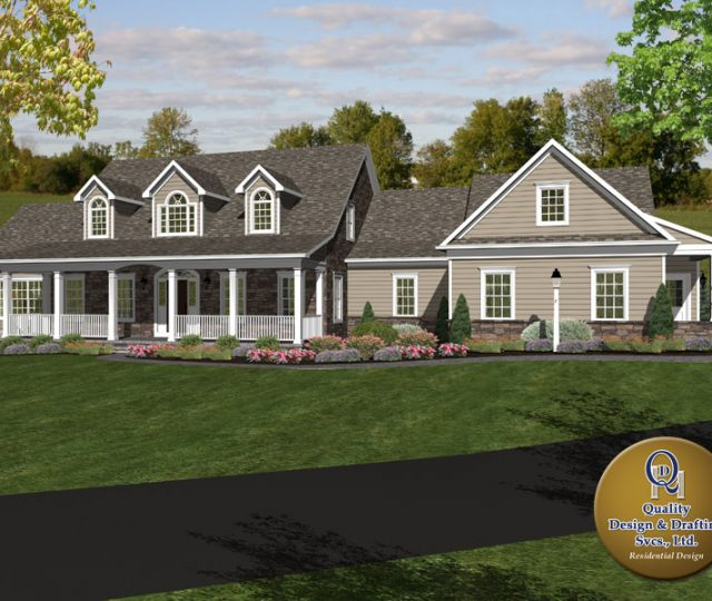 cape cod style 3d rendered home