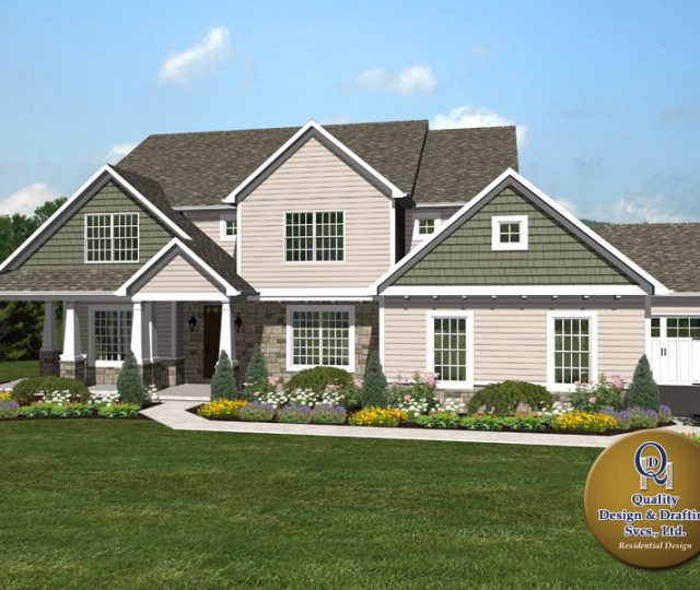 vinyl and James Hardie siding on 3d rendered home