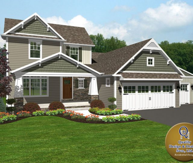 3d rendered home with attached garage