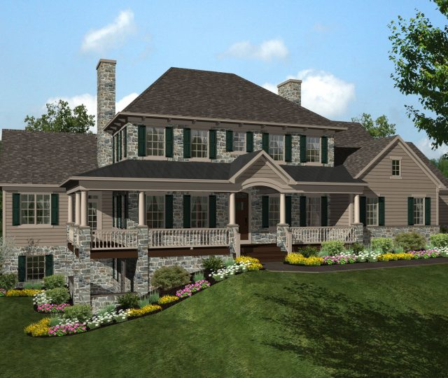 3d rendered two story addition