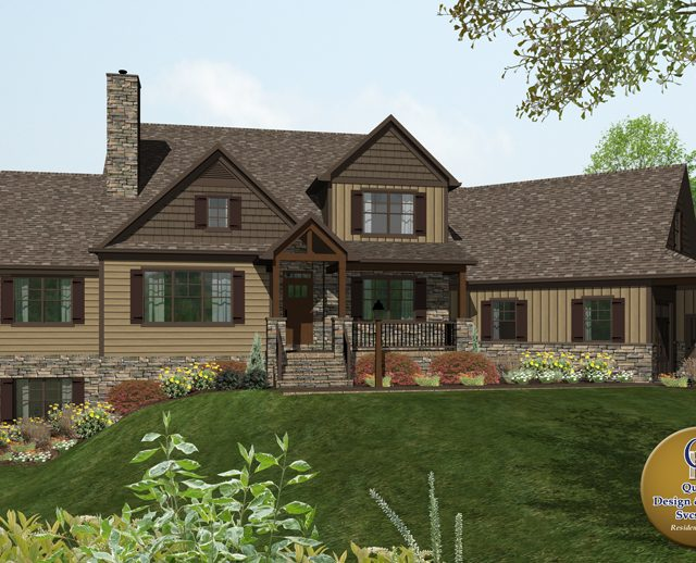 3d rendered custom home and garage