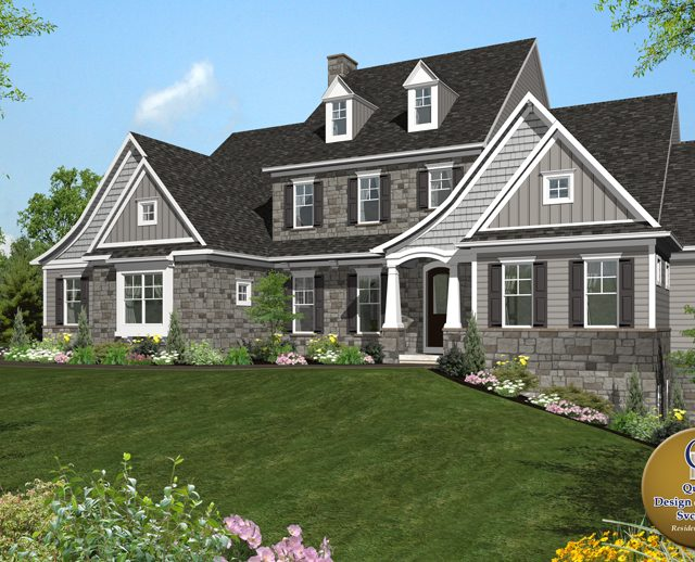 large cape cod style 3d rendered home
