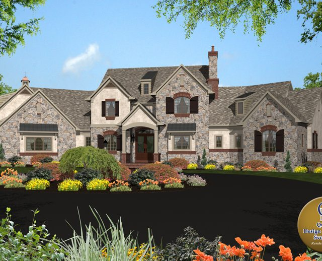 large stone 3d rendered home