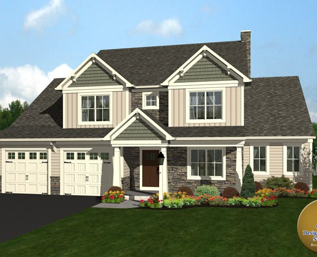 3D rendering of a two story home with a two car garage