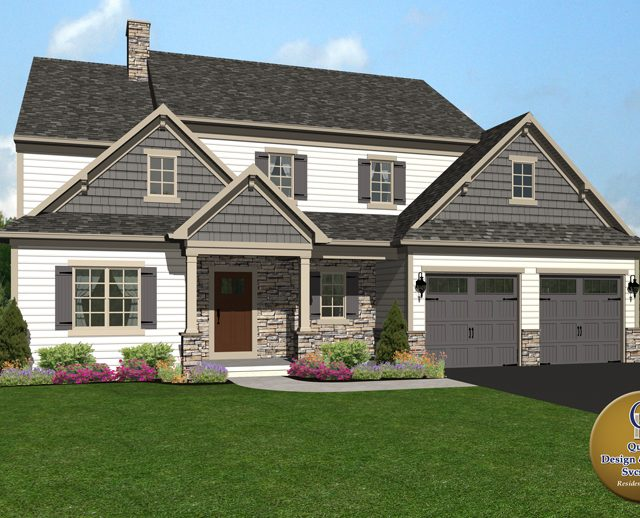 3d rendered image of a large two story home with an attached garage