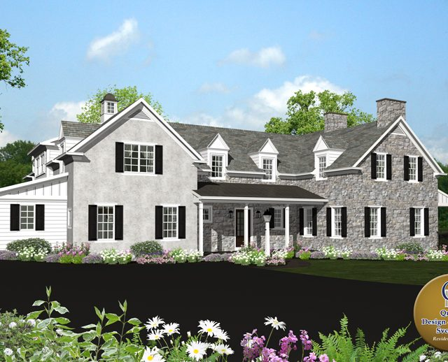 3d rendered photo a large stone cottage estate