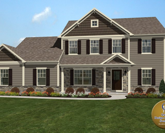 3d rendered photo with a tan two story contemporary home