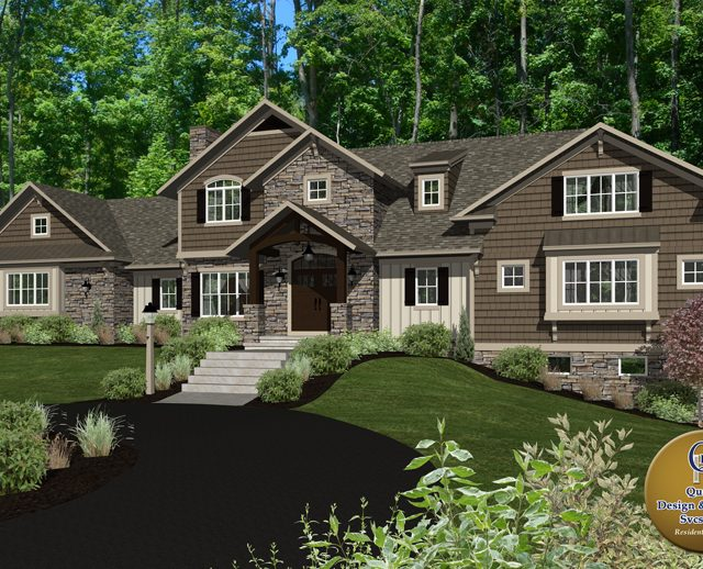 3d rendering of a large half stone contemporary home