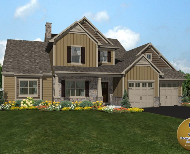 New custom home plan with a two car garage