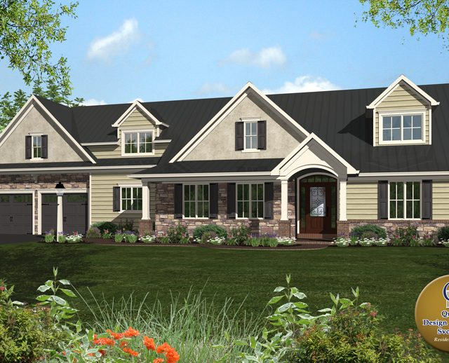 3d rendered photo of a large two story country home