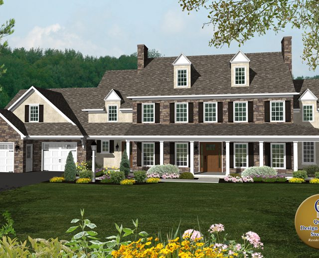 3d rendered photo of a large stone three story cape cod home