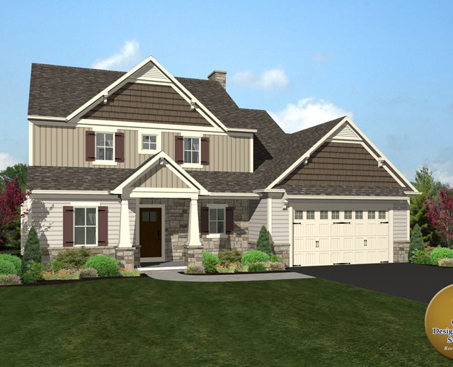 3d rendered photo a two story luxury home with attached garage