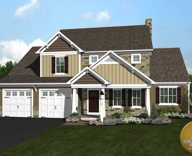 3d rendered large yellow modern home with attached garage