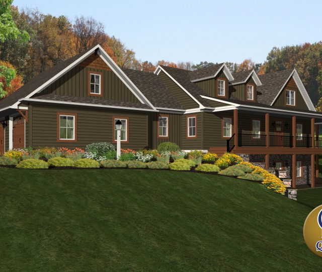 3d rendering of a large brown contemporary home