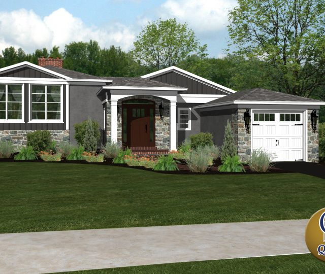 3d rendering of a small luxury home with stone siding
