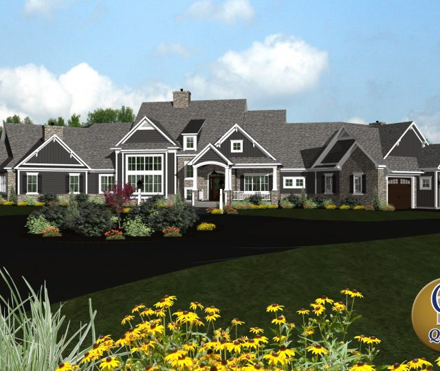front perspective of a 3d rendered contemporary estate with stone accents