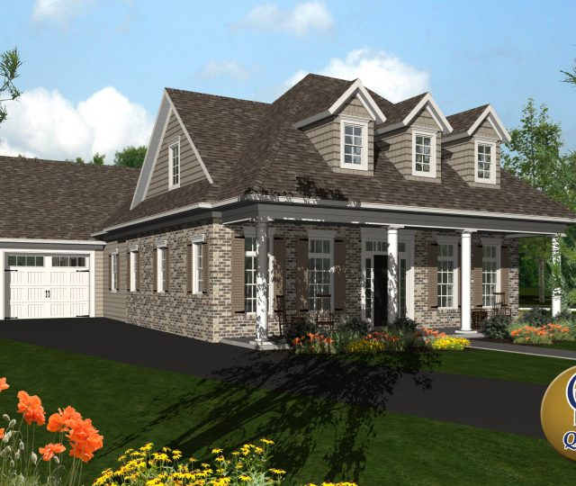 3d rendered capec cod tan house with attached garage and driveway